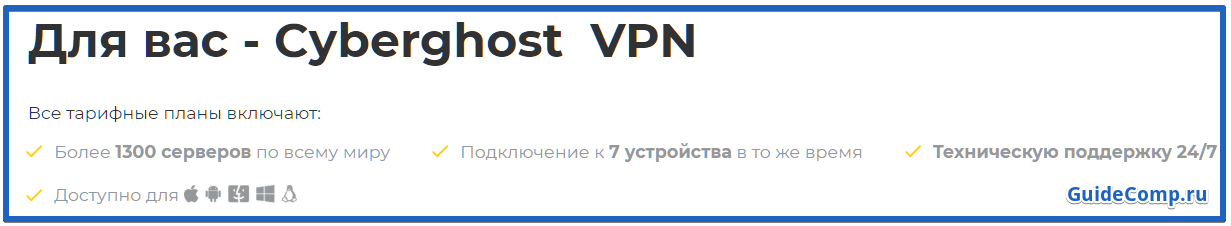 анонимайзер CyberGhost для яндекс браузера
