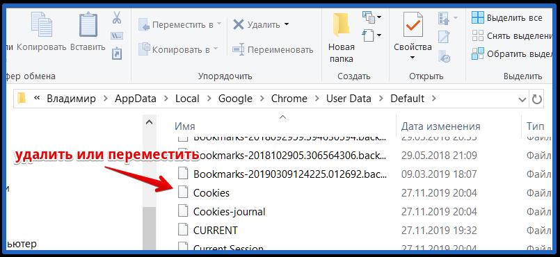 физическое удаление файла cookies гугл хром на пк