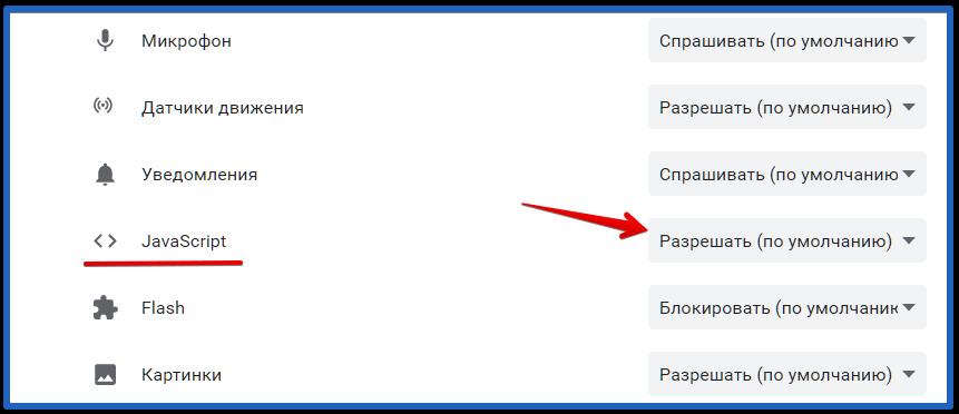 разрешение на javascript для отдельного сайта